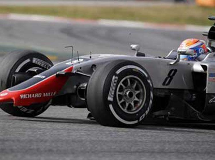 F1哈斯车队首次测试遭故障 2016款最新赛车VF16前翼折断