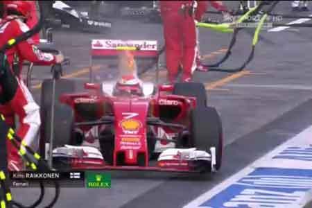 F1澳大利亚正赛莱科宁赛车着火